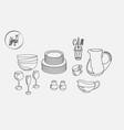 kitchen utensils plates cups saucers pitcher mug vector image vector image
