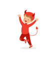 little boy dressed as a devil cute kid in a red vector image vector image