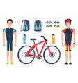 male sportsmen near bicycle isolated on white vector image vector image