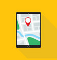 map application on tablet pc monitor flat design vector image