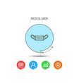 medical mask icon epidemic sign vector image