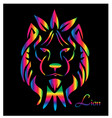 neon lion portrait on black background vector image