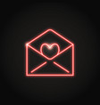 neon mail with heart icon in line style vector image vector image