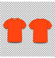 orange male t-shirt template v-neck front and vector image