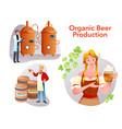 organic beer craft production set cartoon brewery vector image vector image