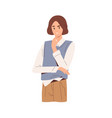pensive thoughtful person thinking about business vector image vector image