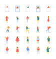 people icons set in flat design vector image vector image