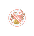 seafood free icon and label with crab and shell vector image vector image