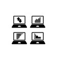 set charts and graphs on laptop statistics vector image vector image
