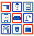 Set of 9 retro icons with office furniture vector image vector image