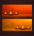 set of beautiful diwali banners with diya and vector image vector image