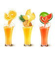 set of fruit juice splash in a glass orange vector image vector image