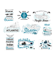 set vintage nautical labels logos and elements vector image vector image