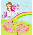 The girl who goes on the sky on a winged unicorn vector image