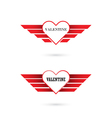 Valentine day heart with angel wings vector image vector image