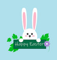 white easter rabbit funny bunny in flat style vector image vector image