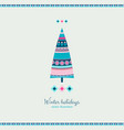 winter holidays fir tree in ethnic style vector image