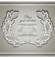 Elegant beije wreath frame with lace floral leaves vector image