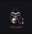 awesome smoking ape logo design vector image vector image