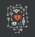banner on theme love with old keys vector image