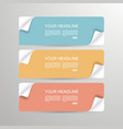 banners with bent paper corners vector image vector image