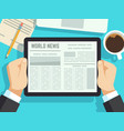 businessman reading news on on table online vector image vector image