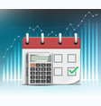 calculator and calendar with due date payment time vector image