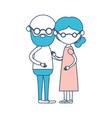 caricature faceless full body elderly couple bald vector image vector image