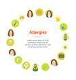 cartoon allergy banner card circle poster vector image
