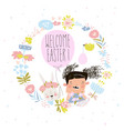 cartoon easter wreath with cute rabbit and little vector image