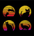 cat sunrise retro vector image