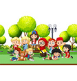 Children from different countries in the park vector image vector image