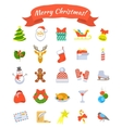 christmas symbols flat icons set vector image
