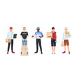 collection of smiling delivery men set of courier vector image vector image