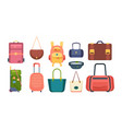 colored bags travel backpack fashioned woman vector image vector image