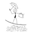 conceptual cartoon of businessman balancing on vector image