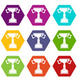 cup for victory icon set color hexahedron vector image vector image
