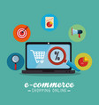 electronic commerce with laptop computer vector image