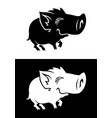 funny wild boar baby silhouette vector image