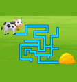 game cow maze find way to the haystack vector image vector image