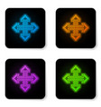 glowing neon pixel arrows in four directions icon vector image
