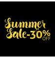 Gold Summer Sale 30 Off Lettering over Black vector image vector image