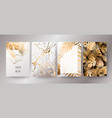 golden marble texture and gold palm leaves card vector image vector image