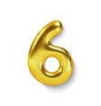 golden number balloon 6 six realistic 3d vector image