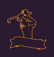 golf logo template outline girl swinging club vector image