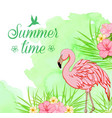 green watercolor background with flamingo vector image vector image