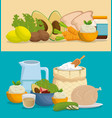 healthy food menu icons vector image