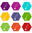 ink with pen icon set color hexahedron vector image vector image