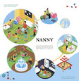 isometric nanny and kids colorful concept vector image