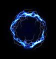 lightning round frame blue plasma magical portal vector image vector image